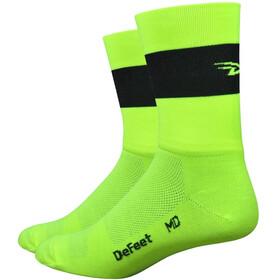 "DeFeet Aireator 5"" Socks Team DeFeet Hi-Vis Yellow w/Black Stripe"